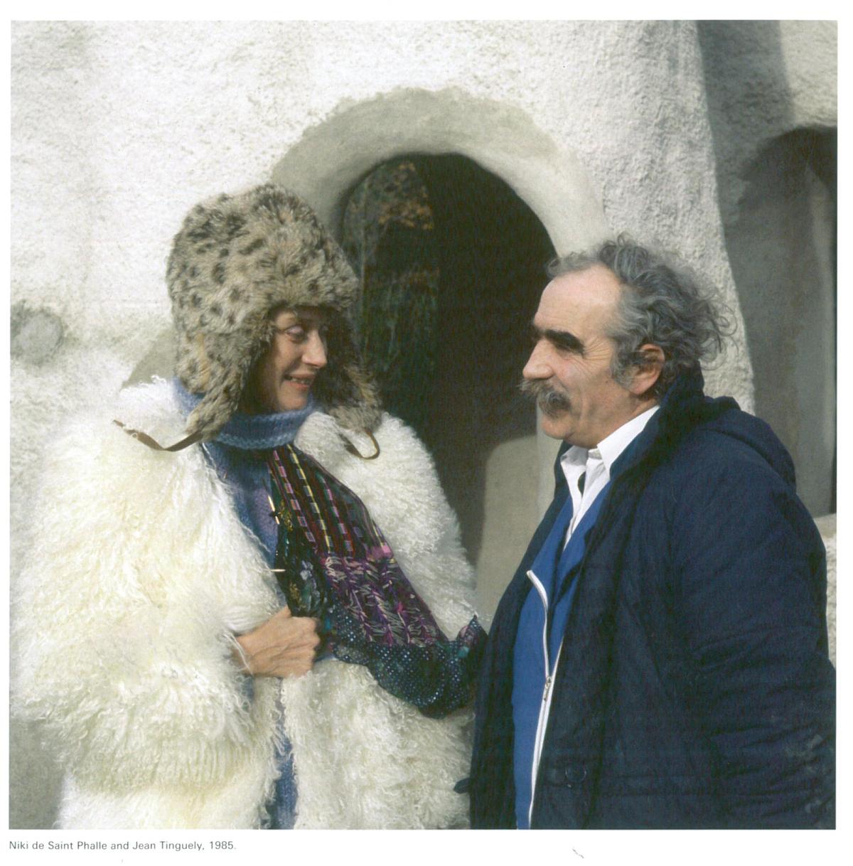 Niki de Saint Phalle and Jean Tinguely, in 1985, as the Tarot Garden was being constructed. Image courtesy of Il Fondazione Giardino Dei Tarocchi.