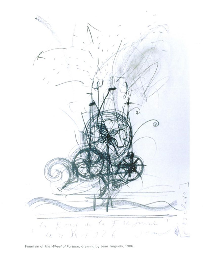 Jean Tinguely's sketch, dated 1986, for his Wheel of Fortune fountain. Image courtesy of Il Fondazione Giardino Dei Tarocchi.