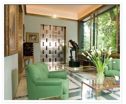 Milan's Villa Nechi, which served as the setting for the film I AM LOVE (made in 2010), was built by Milanese architect Piero Portaluppi in the 1930s, and decorated by Tomaso Buzzi in the 1950s. Image courtesy of CINEMA STYLE blog.