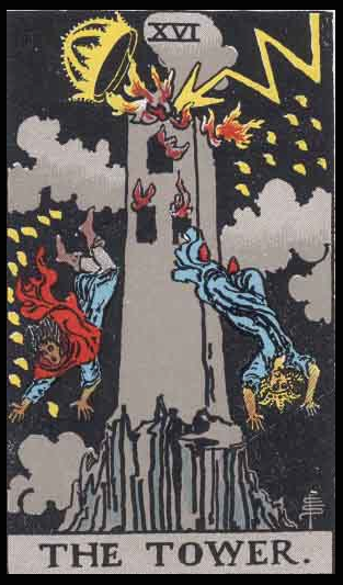 "The Tower, Card XVI of the Tarot. Per Niki: ""Some call this card the Tower of Babel. It represents constructions of a physical nature, or of the mind which are not built solidly. The Falling Tower is not only negative in aspect, it provides a lesson. Complex mental fabrications should fall apart. Jean Tinguely made a symbolic sculpture of Lightning ripping the Tower apart."""